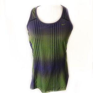 Nike Drifit Green And Purple Razor Back Tank - XL